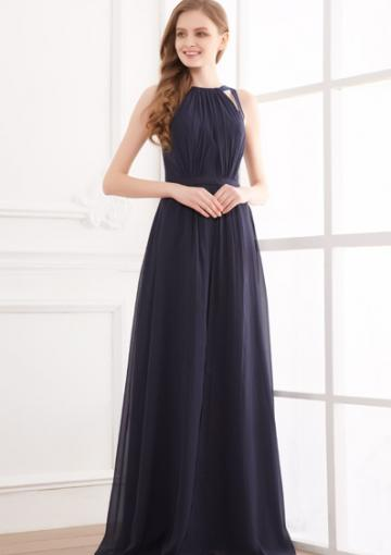 Свадьба - Straps Chiffon Ruched Navy Sleeveless Open Back Floor Length