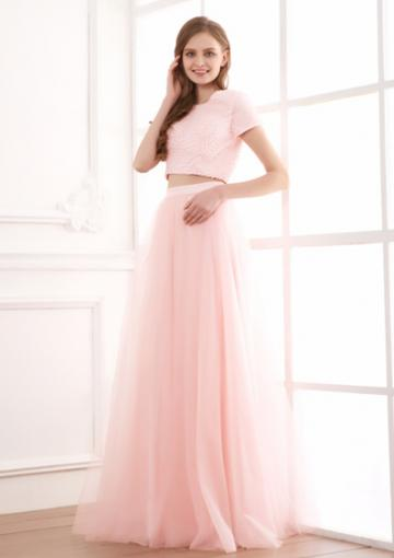 Hochzeit - Ruched Two-piece Floor Length Pink Jewel Short Sleeves Chiffon