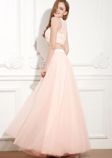 Wedding - Straps Ankle Length Appliques Pink Two-piece Zipper Sleeveless Chiffon Ruched A-line