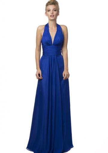 Mariage - Halter Ruched Chiffon Blue A-line Zipper Sleeveless Floor Length