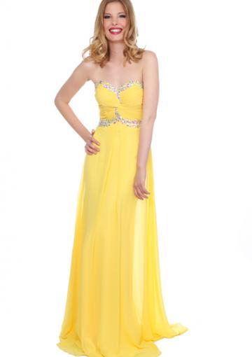 زفاف - Crystals Yellow Ruched Sweetheart Chiffon Floor Length Sleeveless