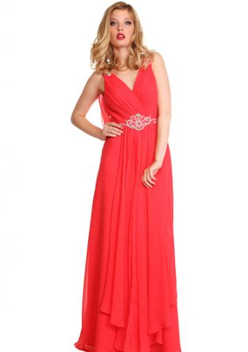 Wedding - V-neck Beading Red V-back Ruched Floor Length Chiffon Sleeveless