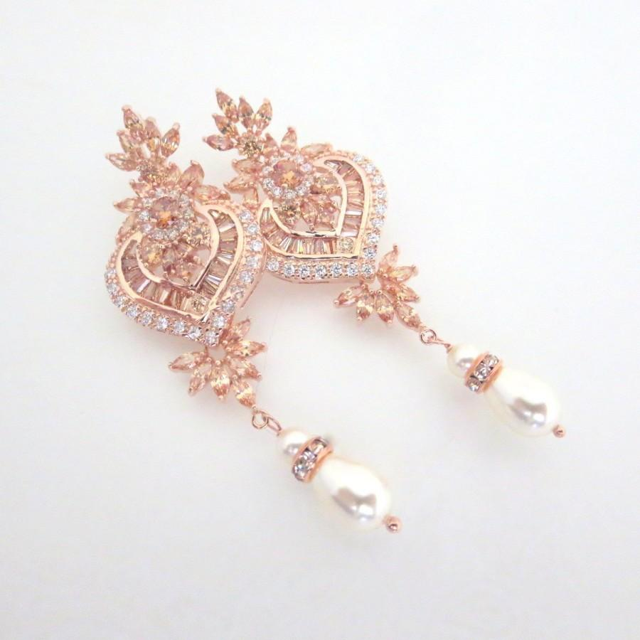 Rose Gold Bridal Earrings Crystal Wedding Chandelier Jewelry Champagne Art Deco Emma