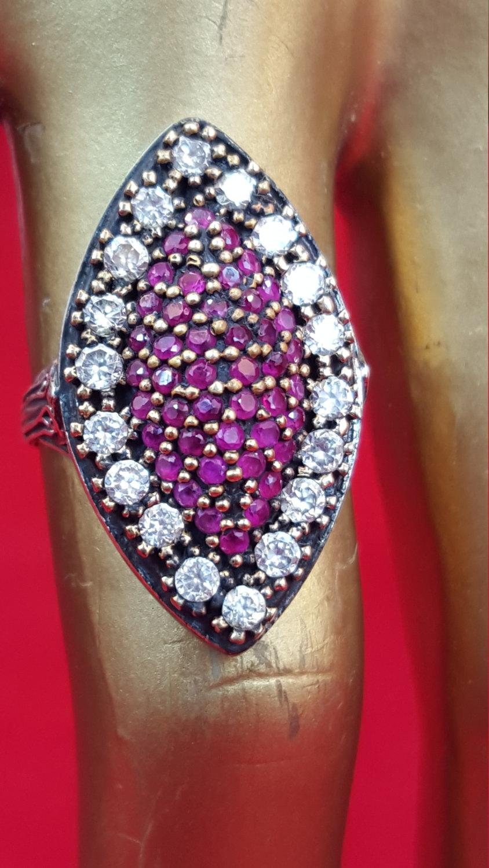 Свадьба - Sterling Silver Ring 925 Stamped Ring.Red Ruby Ring.Diamond CZ.Ring.Antique Ring.Gold Ring.Handmade Ring.Statement.Wedding Engagement.R61-70