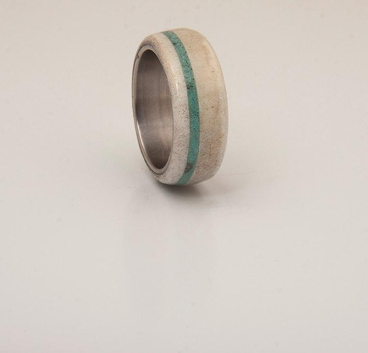 Hochzeit - Antler and Turquoise Mens wedding band Titanium Ring SIlver Ring