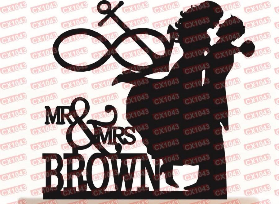 Wedding Cake Topper Mr Mrs Infinity Anchor Couple Silhouette With Your Last Name And Free Base For Display After The Event