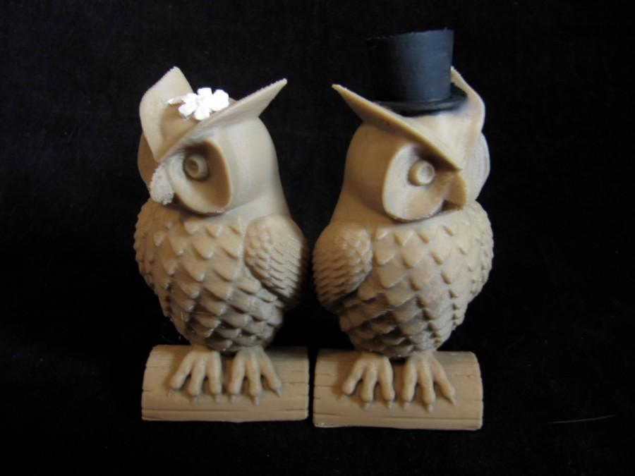 Свадьба - His and Hers Owl Cake Toppers Indie Wedding 3D Printed