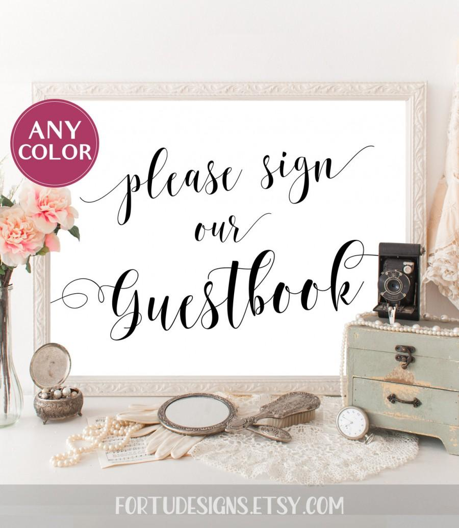 Hochzeit - Wedding guest book sign wedding poster Guest book sign Reception decor Traditional Ceremony decor Sign our guest book Reception decoration