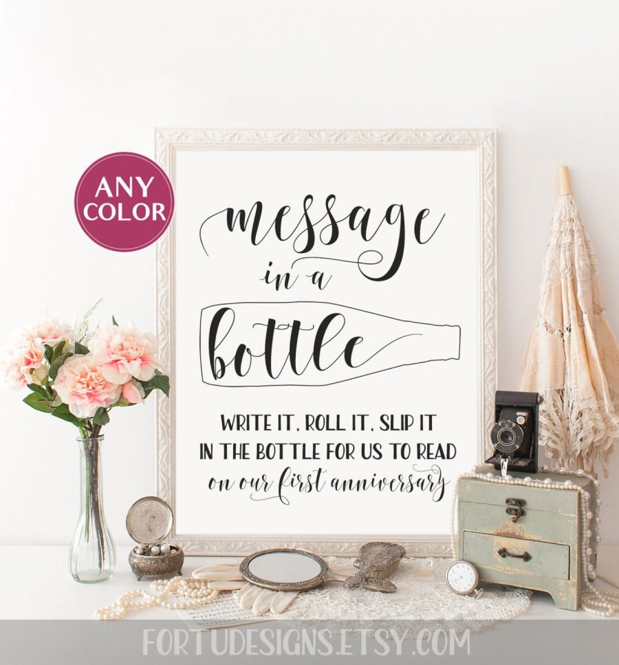 Message In A Bottle Sign Wedding Guest Book Sign Beach