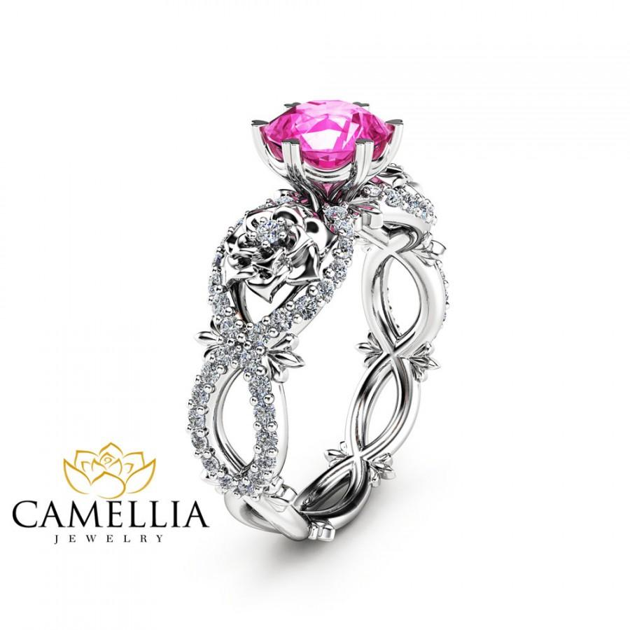 natural pink sapphire engagement ring in 14k white gold unique flower ring nature inspired sapphire ring gemstone engagement ring - Pink Wedding Ring