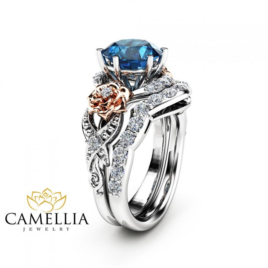 Blue Topaz Engagement Ring Set 14k Two Tone Gold Fl With Matching Diamond Band