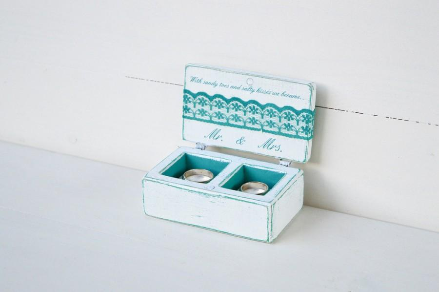 Beach Wedding Ring Box Ring Bearer Box Double Ring Box Distressed