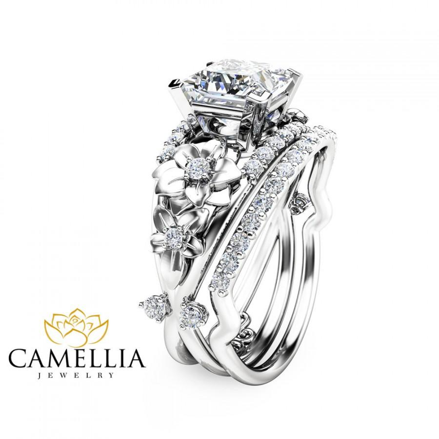 Свадьба - Floral Moissanite Engagement Ring Set Princess Cut Moissanite Ring 14K White Gold Engagement Ring with Matching Band