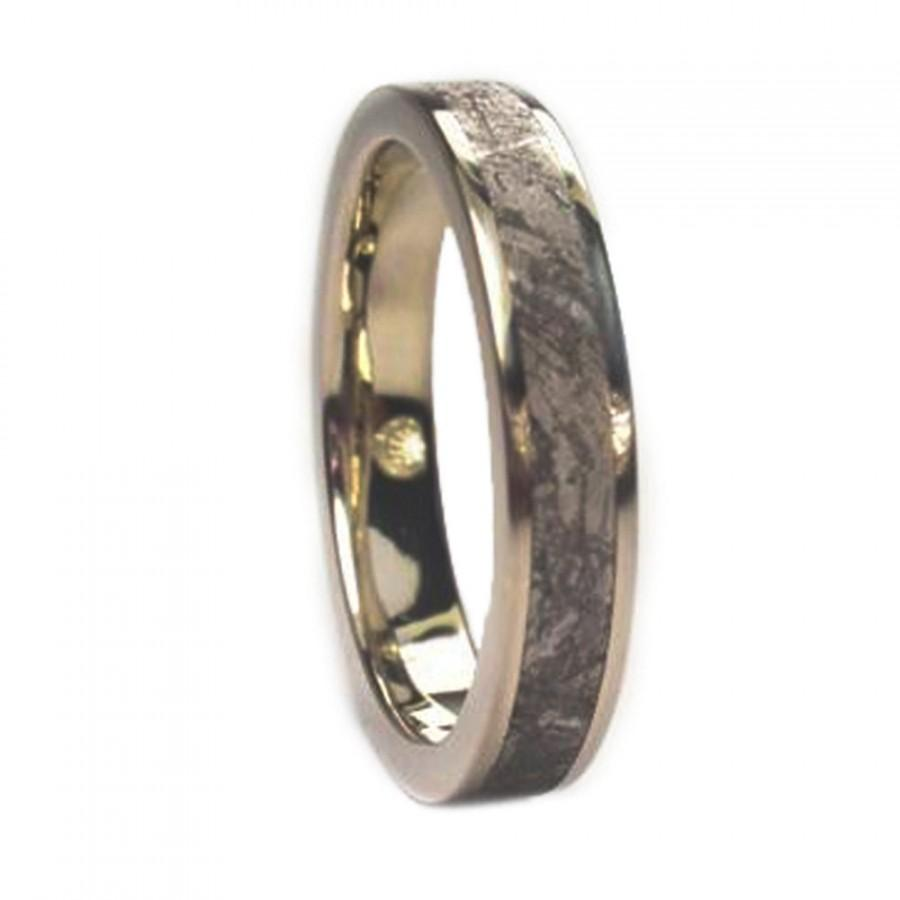 White Gold Wedding Ring For Men White Gold Band With Meteorite
