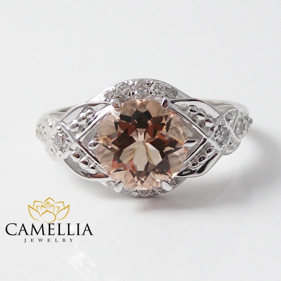 Mariage - Morganite Engagement Ring Petite Diamond Wedding Ring Set in 14k White Gold, 8mm Round Morganite Ring and Half Diamond Eternity Band