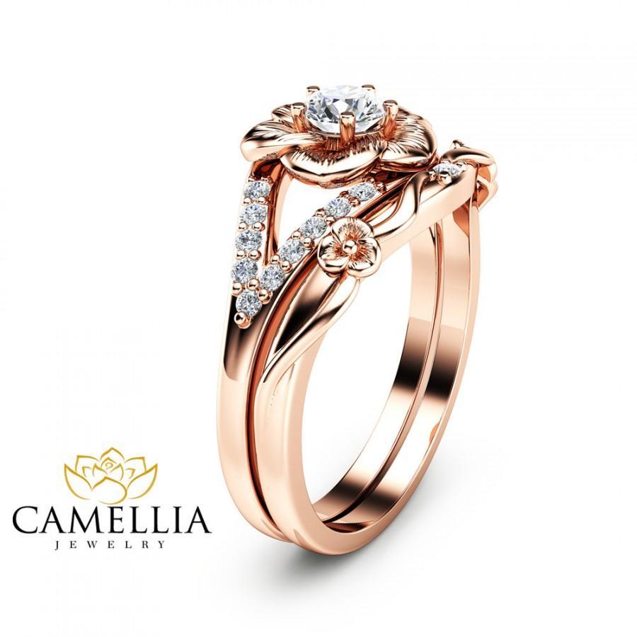 14k Rose Gold Engagement Ring Set Natural Diamond Rings Flower Rose