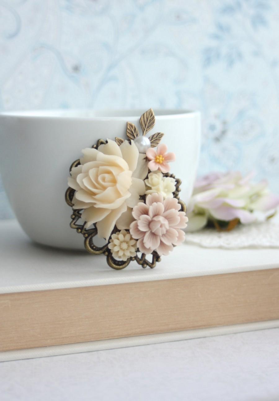 Large Ivory Cream Dusky Pink Flower Collage Large Brooch