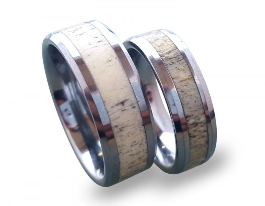 Tungsten Wedding Ring Set Antler Ring Set Tungsten Carbide Ring Set His And Hers Tungsten