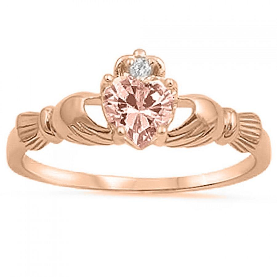 Mariage - Rose Gold Claddagh 925 Sterling Silver 0.75 Carat Heart Pink Morganite CZ Accent Promise Wedding Engagement Anniversary Fidelity Ring