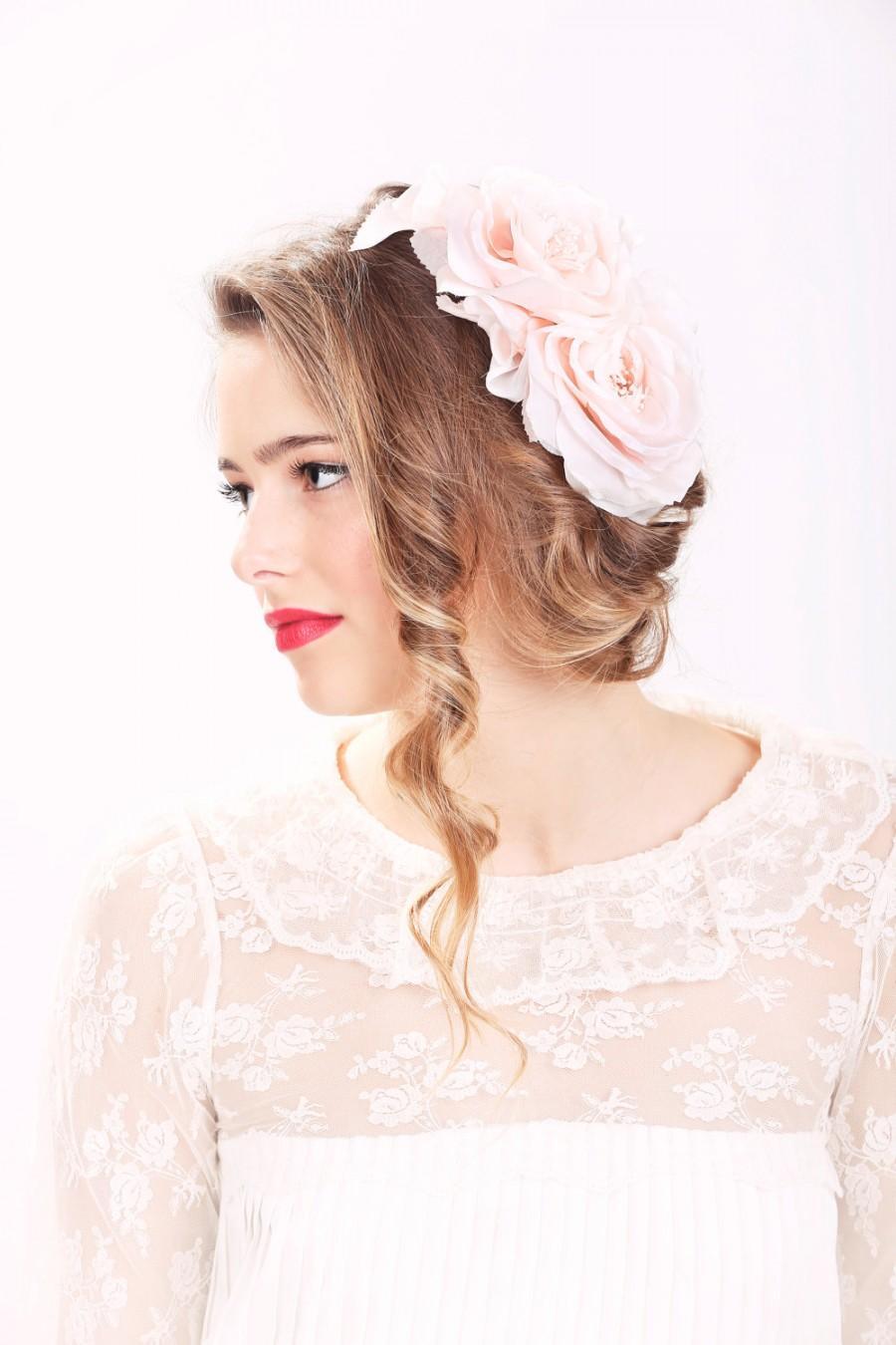 Petal Pink Rose Hair Clip Bridal Hair Accessories Wedding