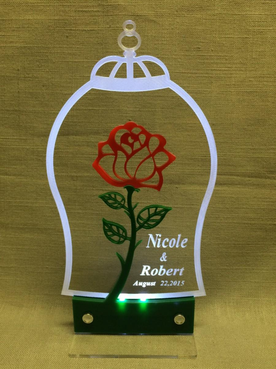 Hochzeit - Beauty and the Beast inspired Cake Topper with LED light for weddings and special occasions, personalized.