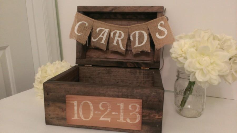 زفاف - rustic card box, wood card box country wedding decor, burlap wedding banner, rustic wedding card box