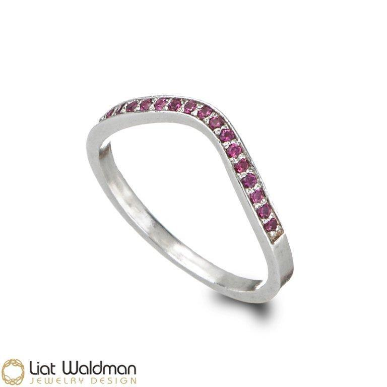 Mariage - V Silver engagement ring, Zircons Engagement Ring, Thin Zircons Ring, Sterling Silver Zircons Wedding ring
