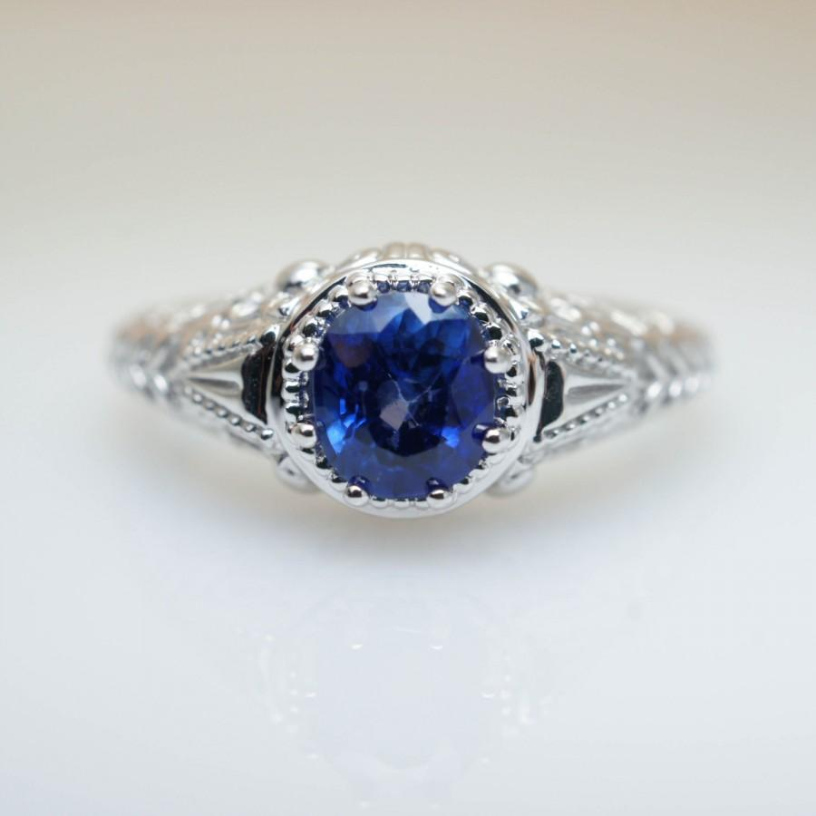126ctw Vintage Inscribed Cushion Cut Blue Sapphire Engagement Ring In 14k  White Gold Wedding Jewelry Art Deco Ring
