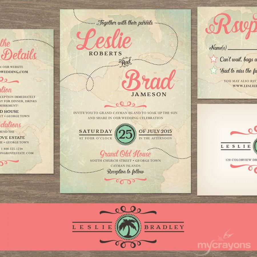 Vintage Destination Wedding Invitation Travel Set Map Printable C And Turquoise