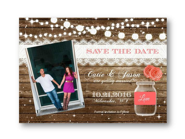Свадьба - Coral Save the Date Rustic wood and mason jar with string of lights photo invitation invite card 5x7 printed or printable