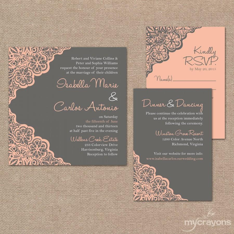 Printable Wedding Invitation Set // Rustic Lace Wedding