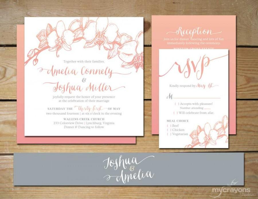 Ombre Orchid Wedding Invitation Set DIY Printable Wedding