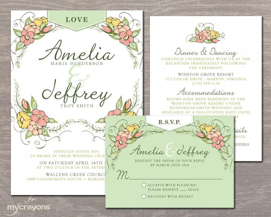 Whimsical Garden Wedding Invitation Set Floral Wedding Invite