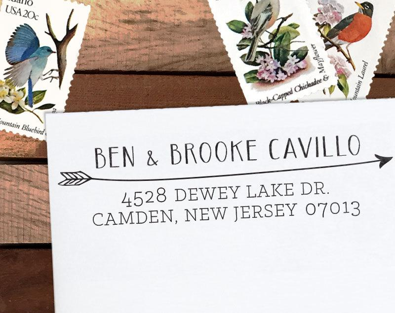 Mariage - Custom Address Stamp, Personalized Address Stamp, Calligraphy Stamp, DIY, Boho Wedding Address Stamp, Eco Mount or Self Inking - Cavillo