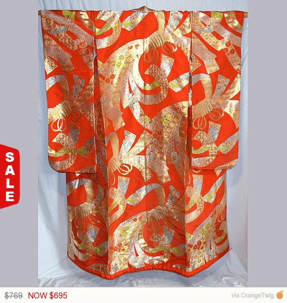 Mariage - Sale -  Vintage Japanese Wedding Kimono Uchikake Bridal Dress Women's - Gold Noshi