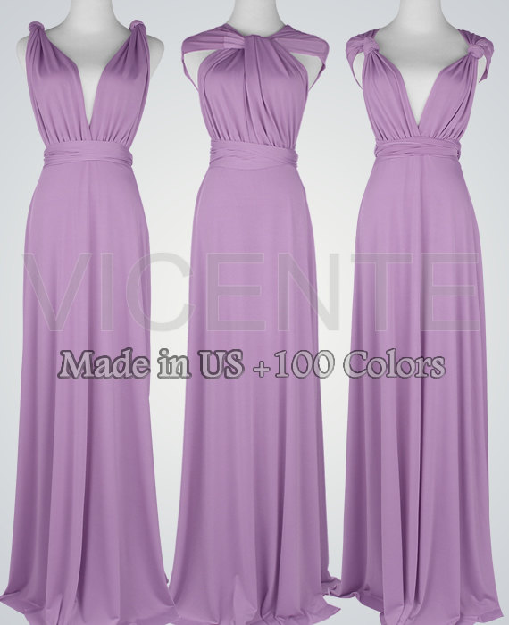 Long Bridesmaid Dresses Purple Dress Maid Of Honor Wedding Party Wrap Rustic