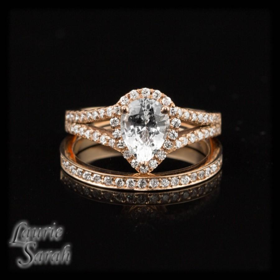 Pear Cut White Sapphire Wedding Set In 14kt Rose Gold With Pave Diamond Band