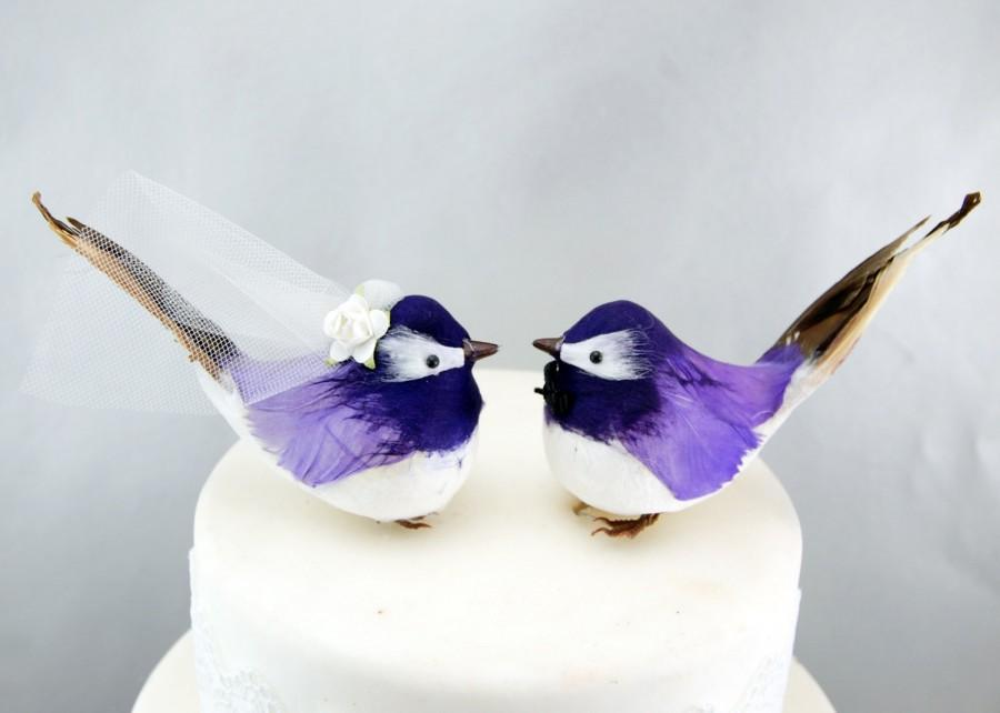 Chipper Chickadee Wedding Cake Topper In Purple Bride Groom Woodland Love Bird LoveNesting Toppers