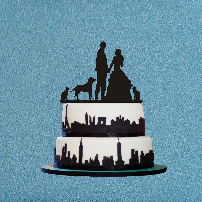 Bride And Groom Cake Topper Silhouette Cake Topper With Dog