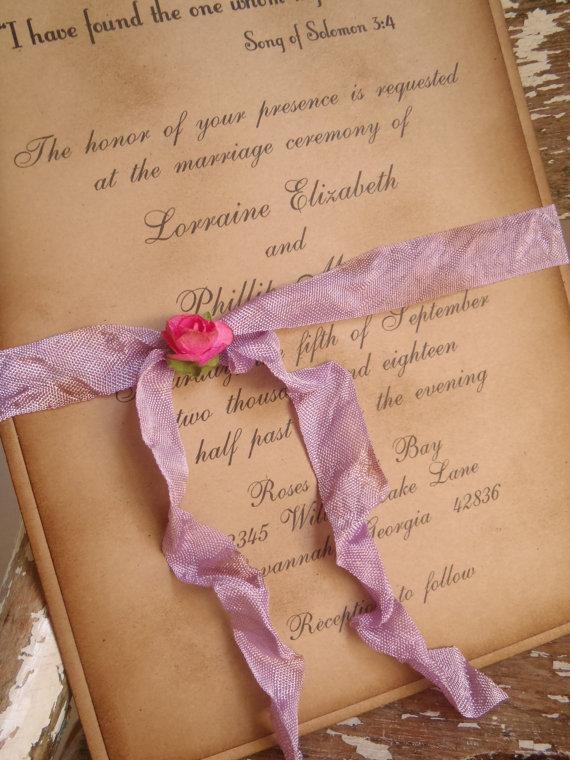 Hochzeit - Purple, Fuschia, Rustic, Vintage, Woodland, Lavender, Wedding Invitation Shabby, Romantic, Victorian, Barn, Boho, Bohemian, Kraft, Garden