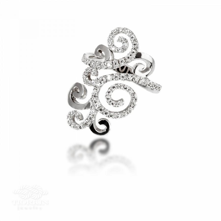 Mariage - Filigree Diamond Ring, Unique Filigree Ring, Monogram Diamond Ring, Delicate Ring, Wipe Diamond Ring, Long Diamond Ring, Design Ring