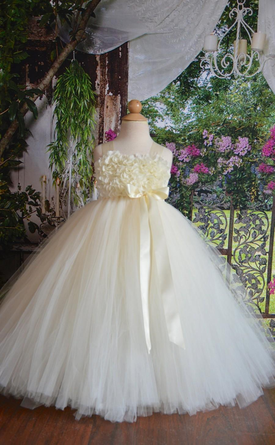 Mariage - Ivory chiffon Hydrangea Flower girl tutu dress