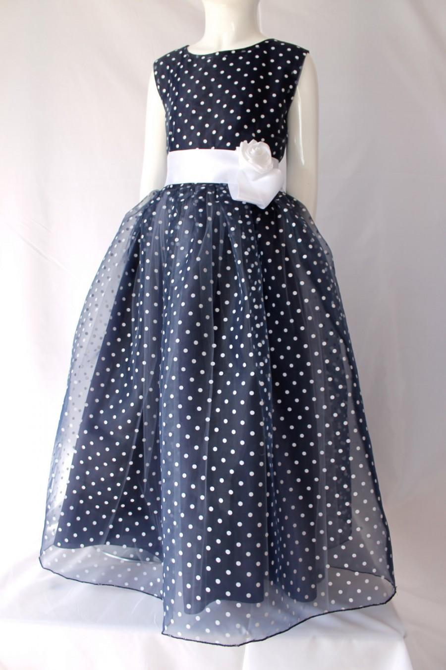 Mariage - Flower Girl dress Navy Blue and White Polka Dot Dress and Headband matching the dress, for bridal wedding party and for special occasion.