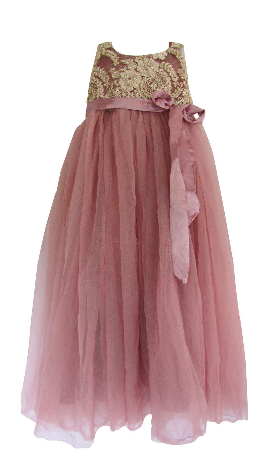 Mariage - Beautiful Blush Pink Girls Soft Tulle with Gold Embroidery Bodice Flower Girl  Long Length Dress