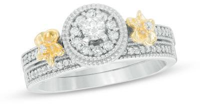 زفاف - 1/3 CT. T.W. Diamond Frame Flower Bridal Set in 10K Two-Tone Gold