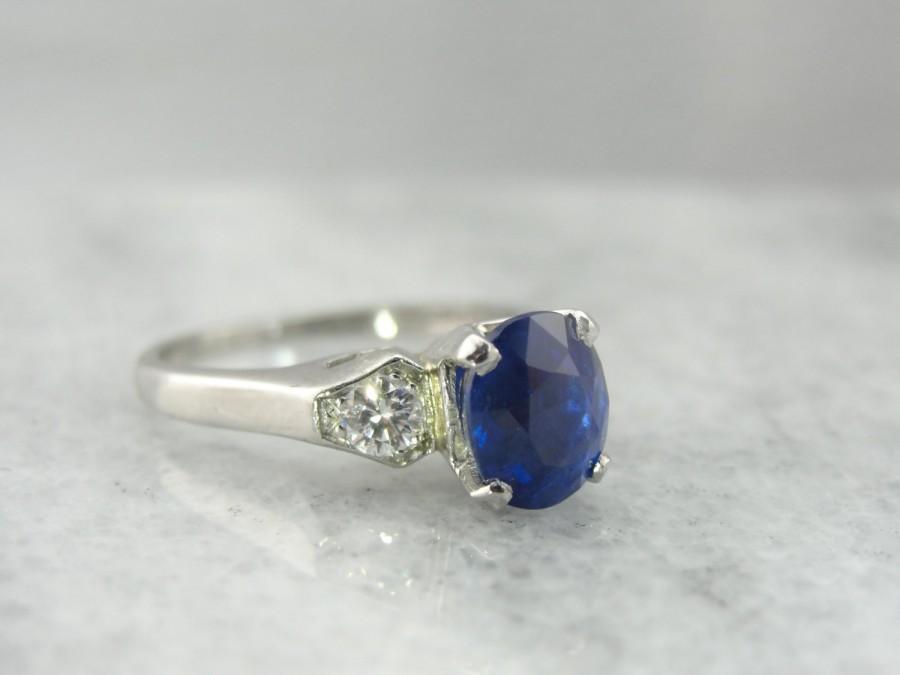 Mariage - Natural Blue Ceylon Sapphire in Platinum Retro Engagement Ring KPL7L9-N