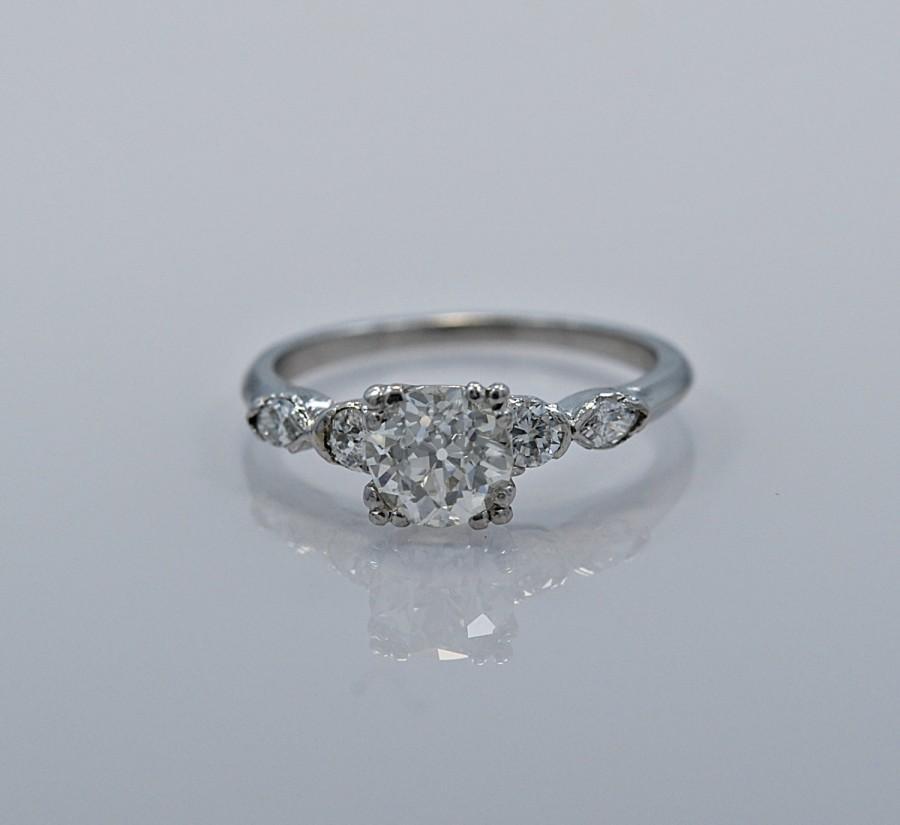 زفاف - Platinum & 1.05ct. Diamond Art Deco Engagement Ring - J35082