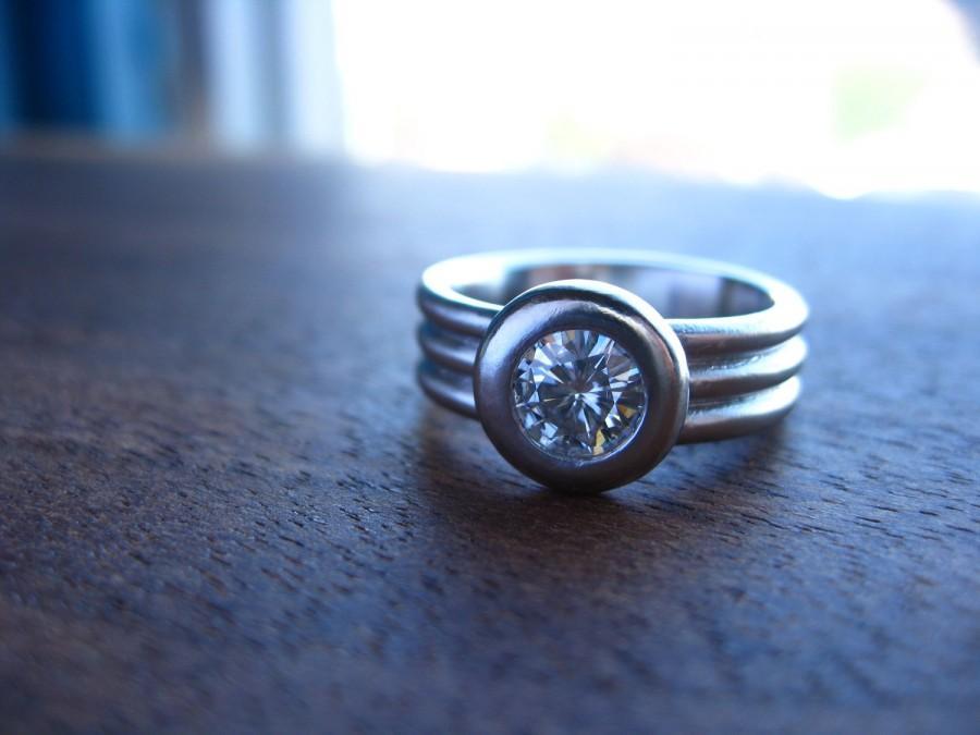 زفاف - 950 Palladium and Moissanite triple band ring, low profile, bezel set, wide band engagment ring