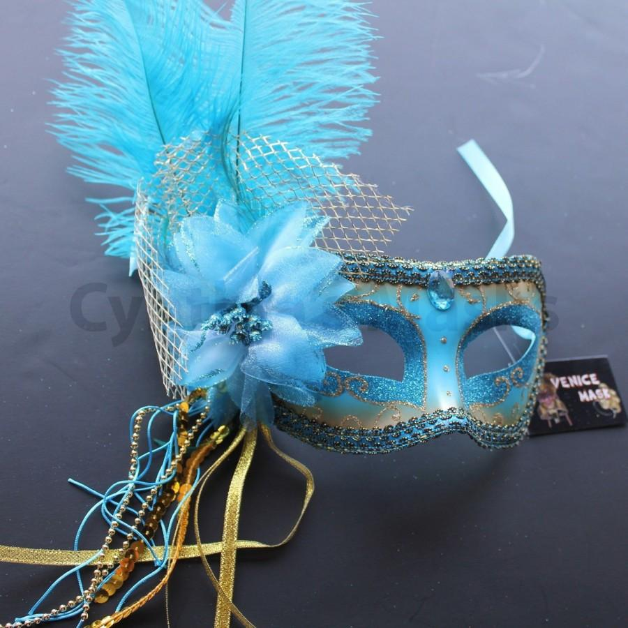 Mariage - Turquoise Venetian Ostrich Feather Mask for Wedding Masquerade 4B5A SKU: 6F42