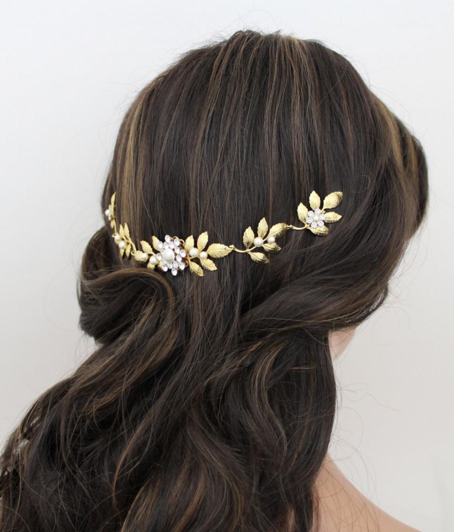 Свадьба - Gold Wedding headpiece, Crystal Bridal hair combs, Back hair piece Leaf hair comb, Bridal hair vine, Wedding hair clip, Rhinestone hairpiece
